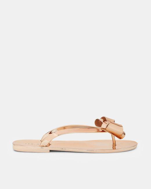 Ted Baker | Multicolor Bow Detail Flip Flops | Lyst