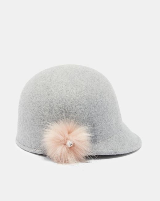 Ted Baker | Gray Faux Fur Pom-pom Hat | Lyst