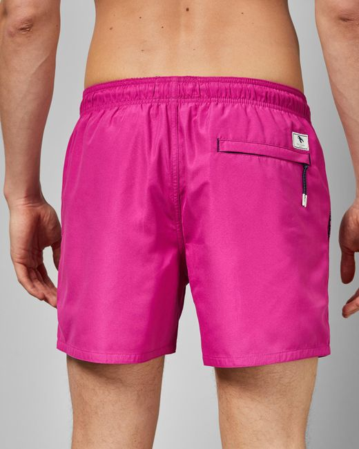 3b803aee1d1c7d ... Ted Baker - Pink Plain Swim Shorts With Pocket for Men - Lyst ...