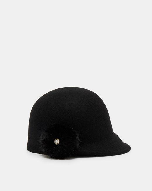 Ted Baker | Black Faux Fur Pom-pom Hat | Lyst