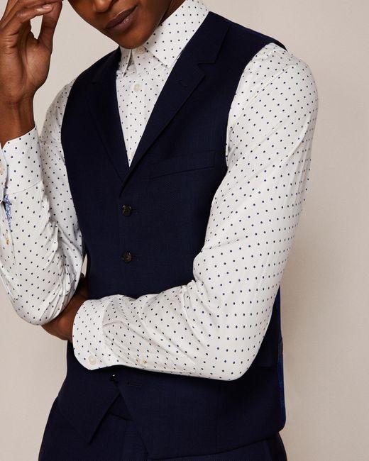 Ted Baker - Blue Sterling Birdseye Wool Waistcoat for Men - Lyst