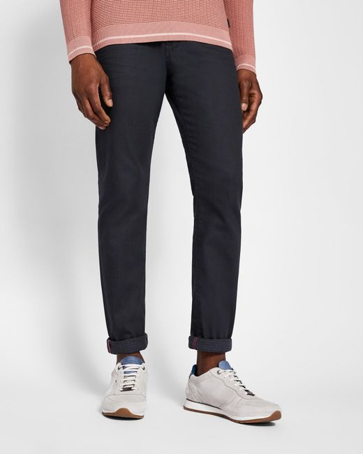 Ted Baker - Gray Printed Hem Tapered Fit Jeans for Men - Lyst
