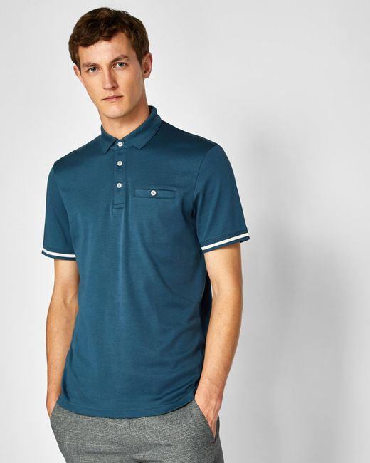 Ted Baker - Blue Stripe Cuff Cotton Polo Shirt for Men - Lyst