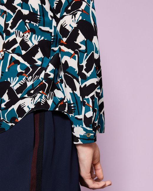 0c994b765d06 ... Ted Baker - Blue Crane Print Silk Shirt - Lyst ...