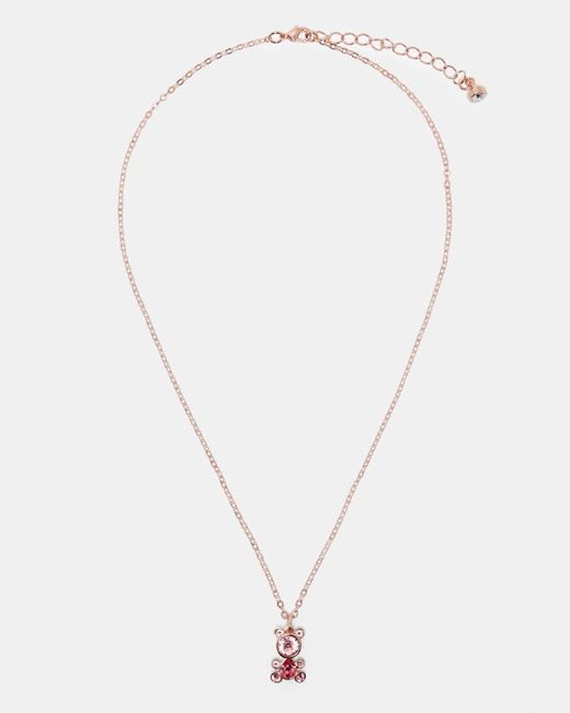 Ted Baker - Pink Crystal Bear Pendant Necklace - Lyst
