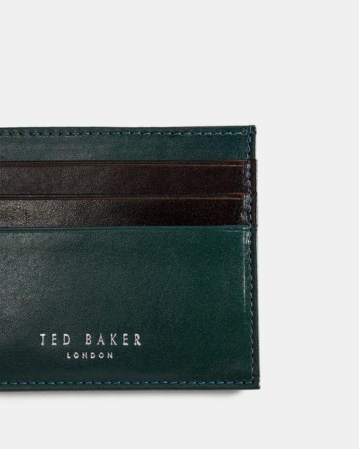 c2c56319cccfb7 ... Ted Baker - Green Contrast Stripe Leather Cardholder for Men - Lyst ...