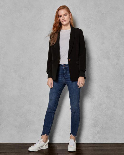 0b2e422c7152 Ted Baker - Blue Uneven Raw Hem Skinny Jeans - Lyst ...