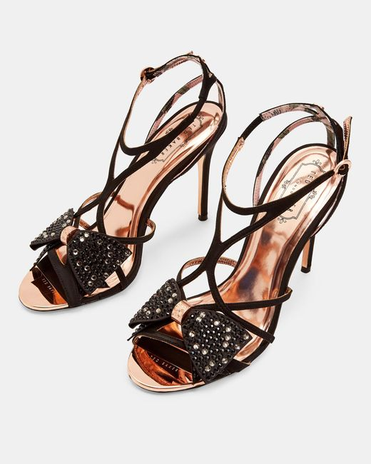 74046e066 ... Ted Baker - Black Crystal Bow Strap Sandals - Lyst ...