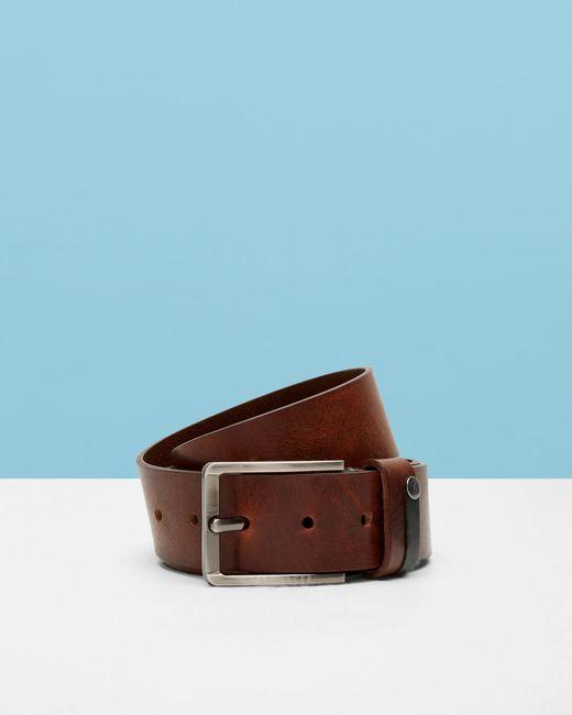 Ted Baker - Brown Contrast Detail Leather Belt for Men - Lyst