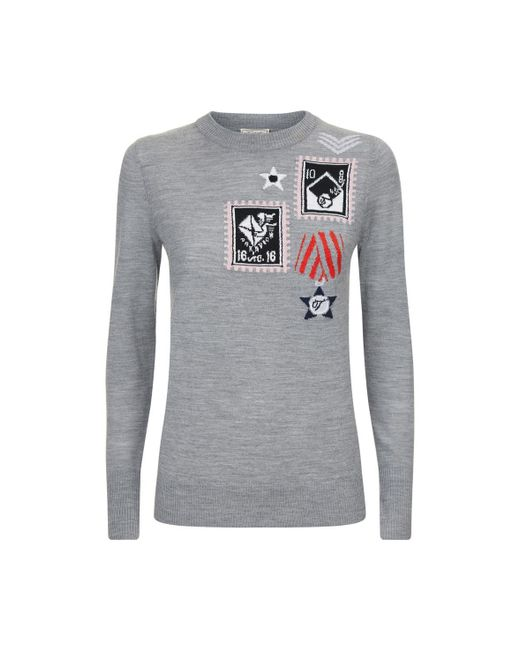 Temperley London - Gray Patch Knit Jumper - Lyst
