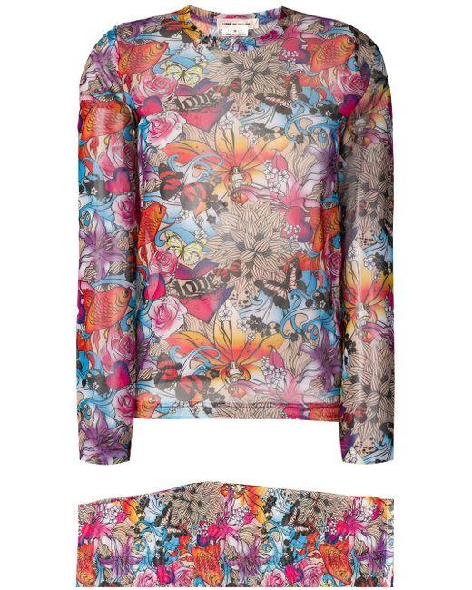 Comme des Garçons - White Two Piece Floral Set - Lyst