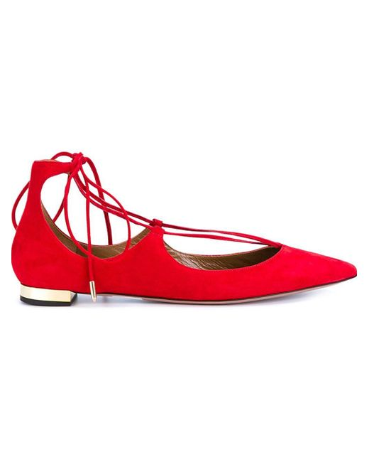 Aquazzura | Red Christy Lace-Up Suede Ballet Flats | Lyst