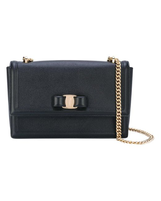 Ferragamo - Black Ginny Leather Shoulder Bag - Lyst