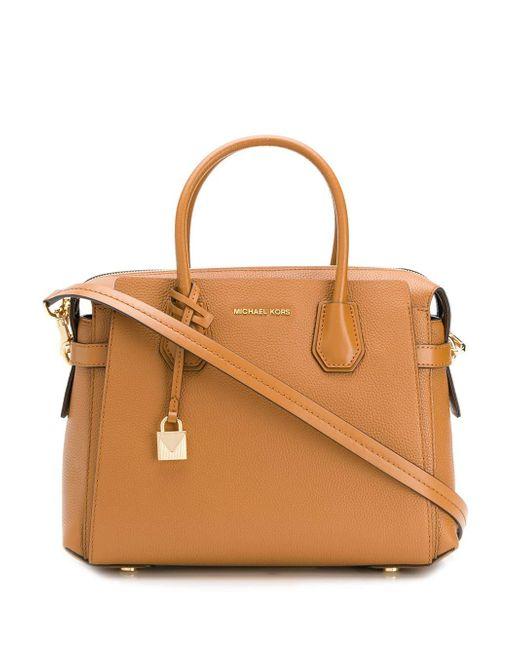 104e11cd2e4 MICHAEL Michael Kors - Brown Mercer Belted Leather Satchel Bag - Lyst ...