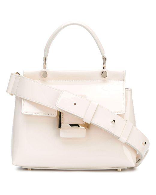 Roger Vivier - White Viv Cabas Mini Patent Leather Shoulder Bag - Lyst