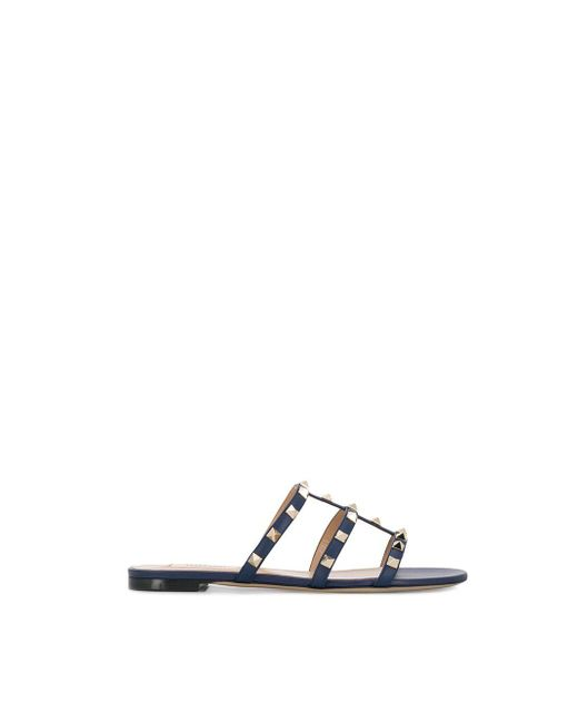 fdb588bef9ea Valentino Garavani Rockstud Sandals in Blue - Save 4% - Lyst