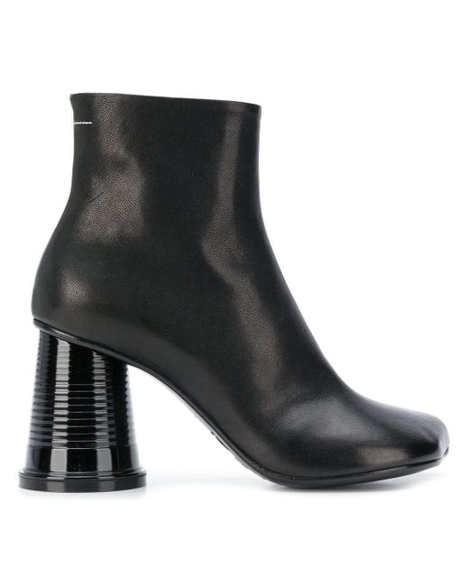 MM6 by Maison Martin Margiela - Black Leather Ankle Boots - Lyst
