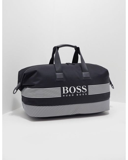 82bc669a2 BOSS - Black Logo Holdall In Structured Nylon With Printed Stripes for Men  - Lyst ...