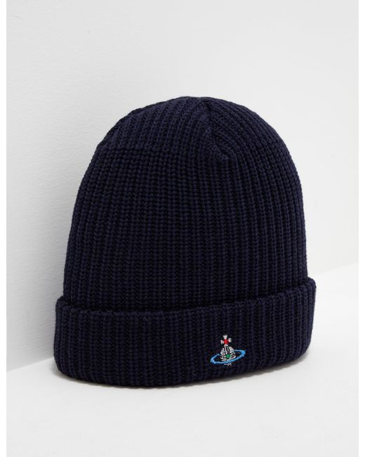 Vivienne Westwood - Mens Orb Knitted Beanie Navy Blue for Men - Lyst