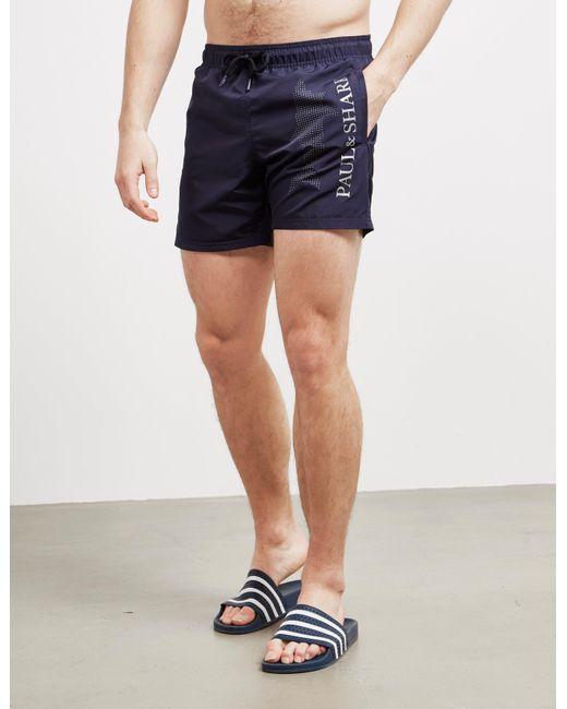 Paul & Shark Large Logo Swim Shorts Navy Blue for men