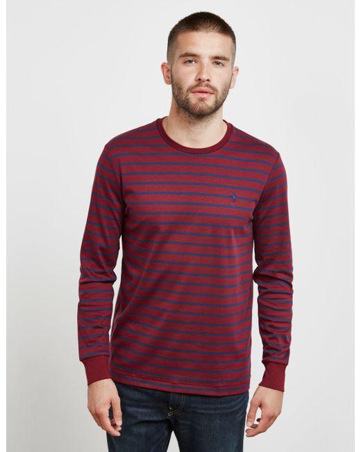 302f9148 Polo Ralph Lauren - Stripe Long Sleeve T-shirt Red for Men - Lyst ...