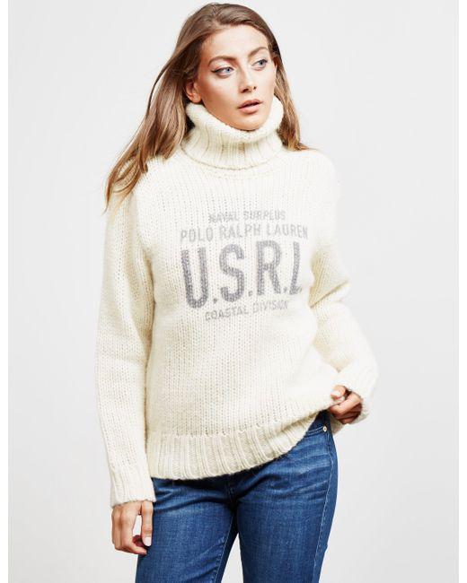 Polo Ralph Lauren - Natural Logo Graphic Turtleneck Sweater - Lyst
