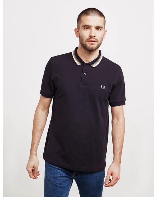 426ae8ff3a Fred Perry - Stripe Collar Short Sleeve Polo Shirt Black for Men - Lyst ...