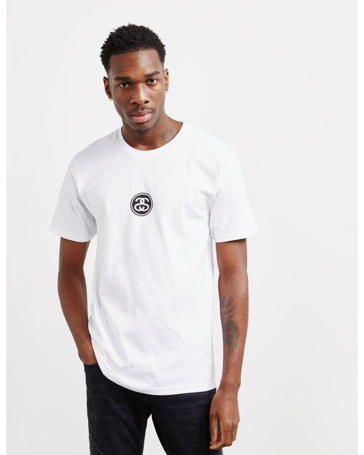 be3e5668 Stussy Link Logo Short Sleeve T-shirt White in White for Men - Lyst