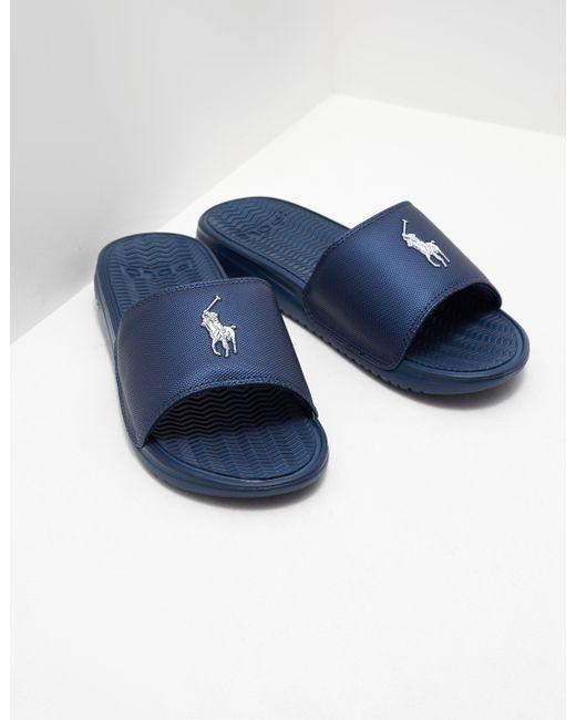 polo ralph lauren mens rodwell slides navy blue in blue for men lyst