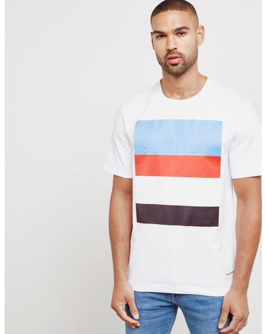 Calvin Klein - Mens Stripe Logo Short Sleeve T-shirt White for Men - Lyst