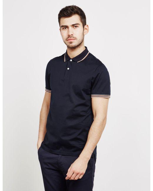 37dc7cfcf Aquascutum - Blue Tipped Collar Short Sleeve Polo Shirt for Men - Lyst ...