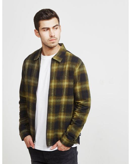 Stussy - Mens Zip Up Plaid Shirt Green for Men - Lyst