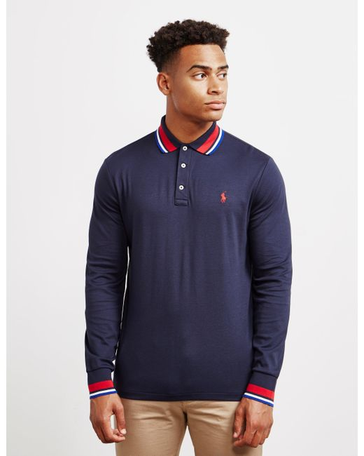 13eb73e2f648 Polo Ralph Lauren - Blue Long Sleeve Pima Jersey Polo With Tipped Collar In  Navy for ...