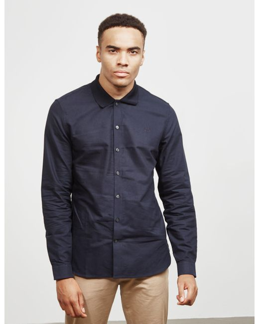 0daf1073b1c Fred Perry Knit Collar Oxford Shirt Navy Blue in Blue for Men - Save ...