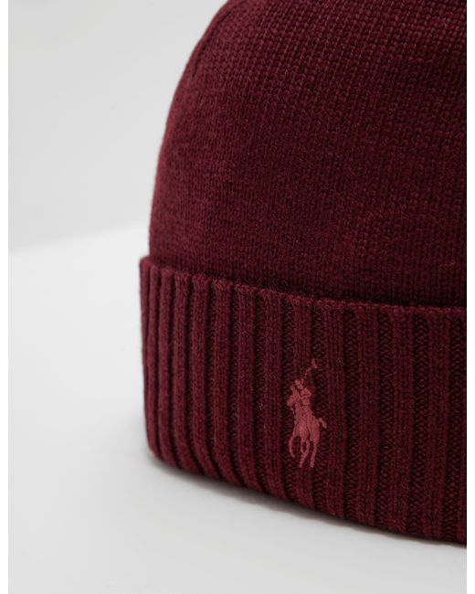 58b1f966e64 ... Polo Ralph Lauren - Mens Logo Beanie Red for Men - Lyst ...