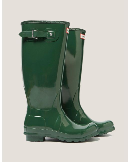 Hunter - Womens Tall Gloss Boot Green - Lyst