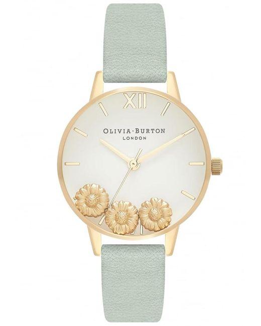 Olivia Burton - Metallic Dancing Daisy Leather Strap Watch - Lyst