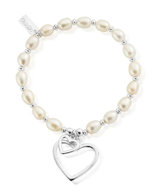 ChloBo - Metallic Pearl Disc Double Open Heart Bracelet - Lyst