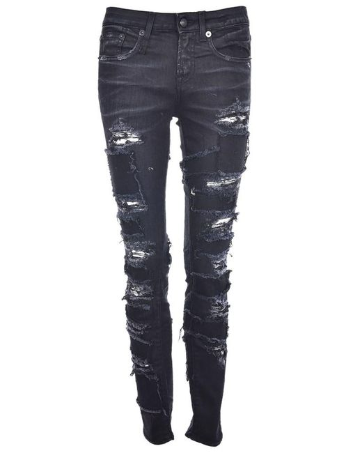 R13 - Blue Alison Patch Skinny Jeans - Lyst