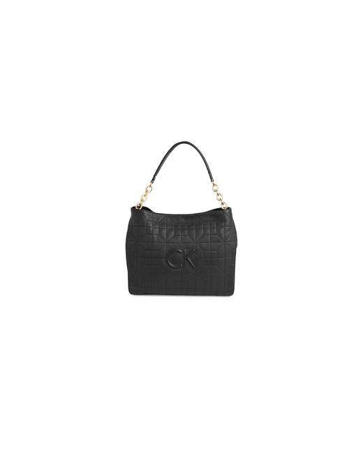 Calvin Klein | Black Embossed Logo Quilted Hobo | Lyst