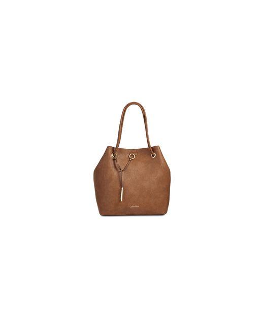 Calvin Klein | Brown Reversible Drawstring Bucket Bag | Lyst