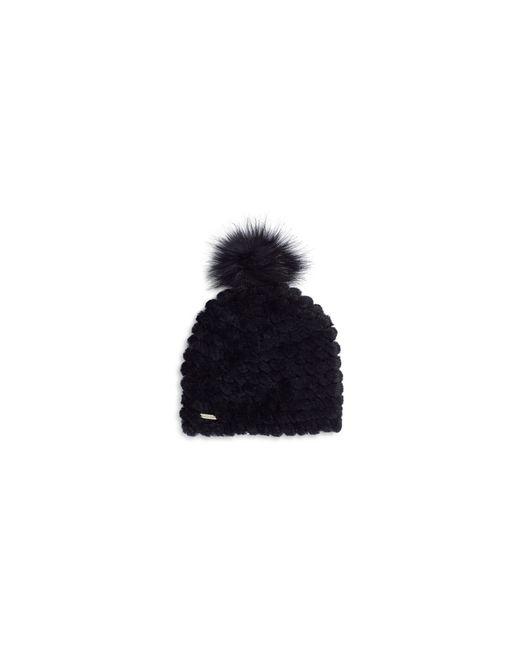 Calvin Klein   Black Ribbed Knit Faux-fur Pompom Beanie   Lyst