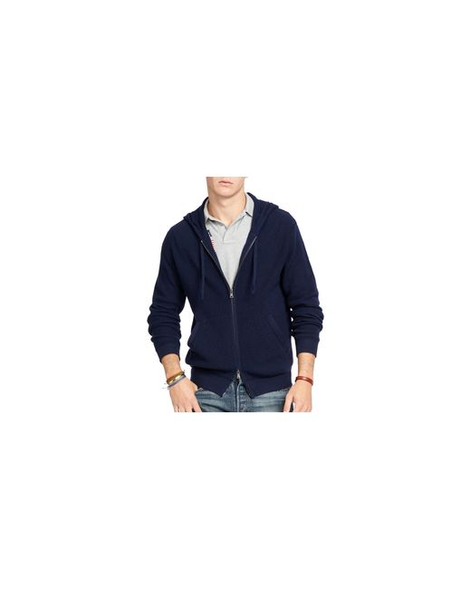 Polo Ralph Lauren | Blue Merino Wool Full-zip Hoodie for Men | Lyst