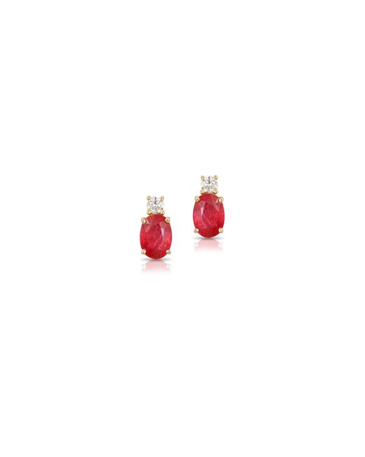 Effy | Red 14k Yellow Gold Ruby Earrings With 0.016 Tcw Diamonds | Lyst
