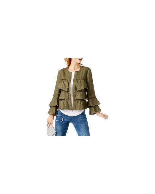 INC International Concepts   Green Linen Ruffled Jacket   Lyst