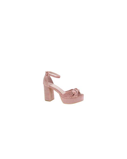 Chinese Laundry | Pink Velvet Platform Sandals | Lyst