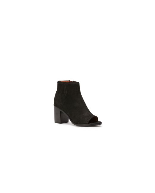 Frye | Black Peep Toe Leather Booties | Lyst