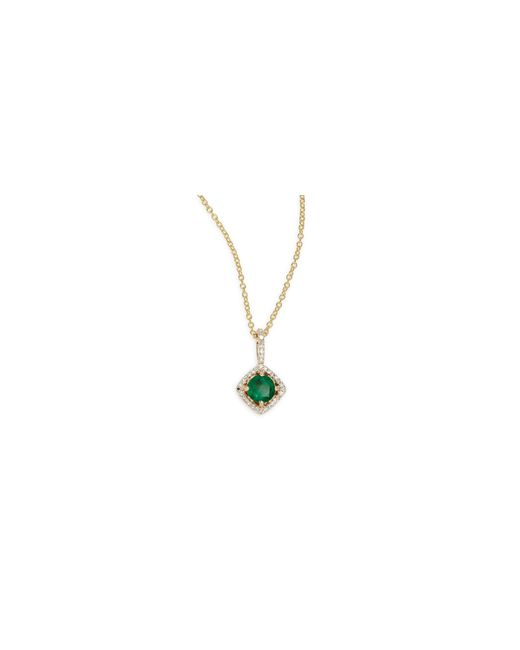 Effy   Green 14k Yellow Gold Emerald And 0.11tcw Diamond Pendant Necklace   Lyst