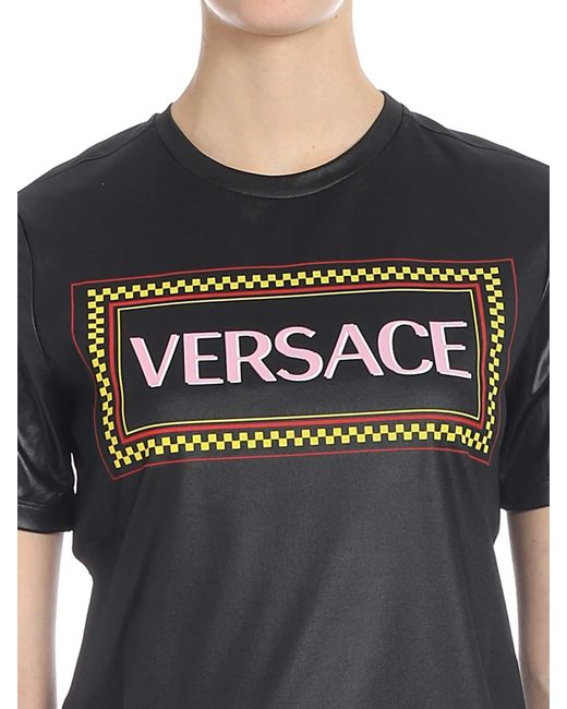 c48e224a Lyst - Versace 90s Vintage Logo T-shirt In Black Lacquered in Black