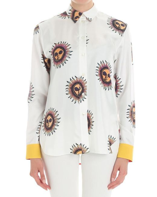 Paul Smith - White Ivory Sun Printed Shirt - Lyst